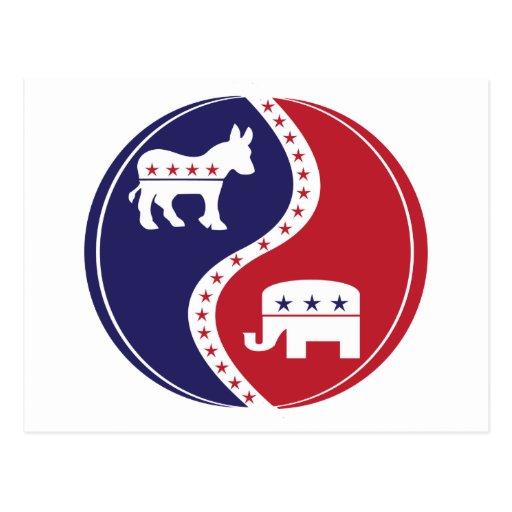 Republican  Democrats Working Together Post Card