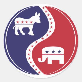 Republican  Democrats Working Together Round Sticker