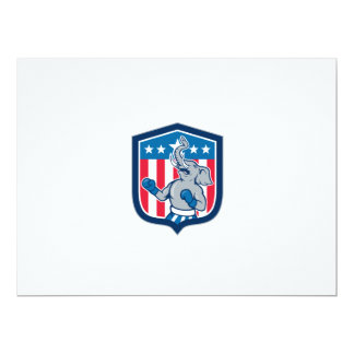 Republican Elephant Boxer Mascot Shield Cartoon 17 Cm X 22 Cm Invitation Card