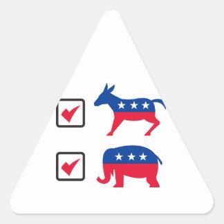 Republican Elephant Democrat Donkey Election Ballo Triangle Sticker