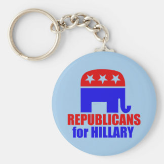 Republican Elephant for Hillary Clinton Basic Round Button Key Ring