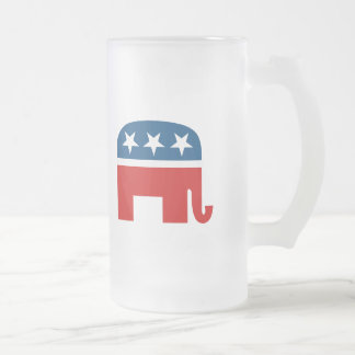 Republican Elephant Frosted Glass Mug