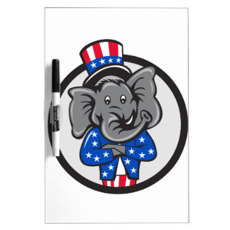 Republican Elephant Mascot Arms Crossed Circle Car Dry-Erase Whiteboards
