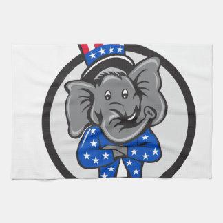 Republican Elephant Mascot Arms Crossed Circle Car Hand Towels