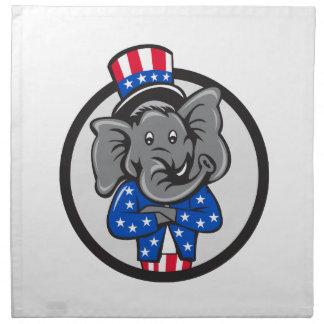 Republican Elephant Mascot Arms Crossed Circle Car Napkin