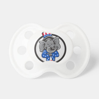 Republican Elephant Mascot Arms Crossed Circle Car Pacifier