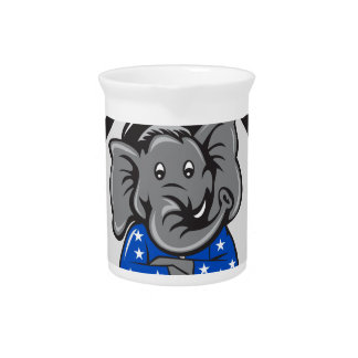 Republican Elephant Mascot Arms Crossed Circle Car Pitcher