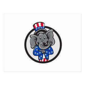 Republican Elephant Mascot Arms Crossed Circle Car Postcard
