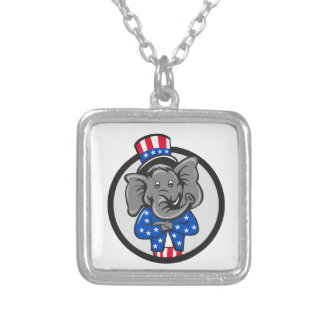 Republican Elephant Mascot Arms Crossed Circle Car Silver Plated Necklace