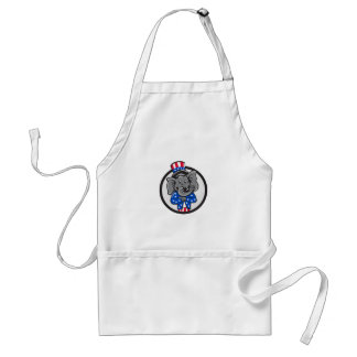Republican Elephant Mascot Arms Crossed Circle Car Standard Apron