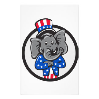 Republican Elephant Mascot Arms Crossed Circle Car Stationery