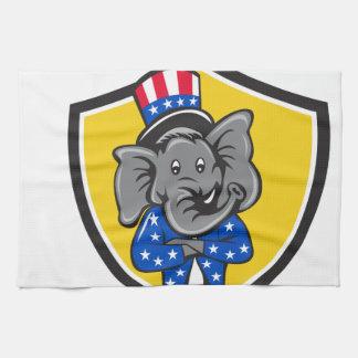 Republican Elephant Mascot Arms Crossed Shield Car Hand Towel