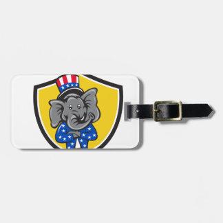 Republican Elephant Mascot Arms Crossed Shield Car Luggage Tag