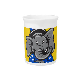 Republican Elephant Mascot Arms Crossed Shield Car Pitcher