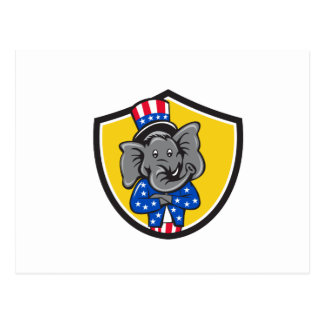 Republican Elephant Mascot Arms Crossed Shield Car Postcard