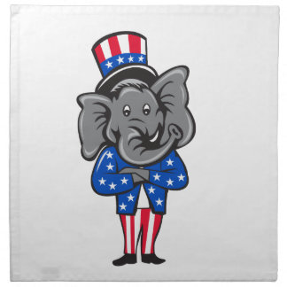 Republican Elephant Mascot Arms Crossed Standing C Napkin