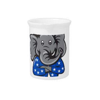 Republican Elephant Mascot Arms Crossed Standing C Pitcher