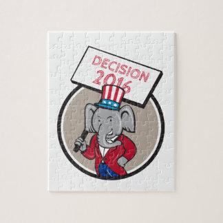 Republican Elephant Mascot Decision 2016 Circle Ca Jigsaw Puzzle