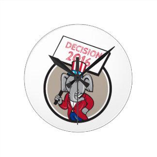 Republican Elephant Mascot Decision 2016 Circle Ca Round Clock