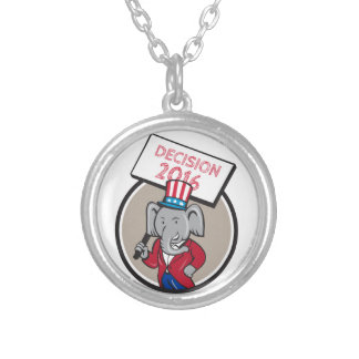 Republican Elephant Mascot Decision 2016 Circle Ca Silver Plated Necklace