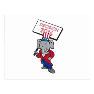 Republican Elephant Mascot Decision 2016 Placard C Postcard