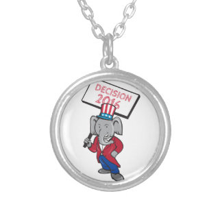 Republican Elephant Mascot Decision 2016 Placard C Silver Plated Necklace