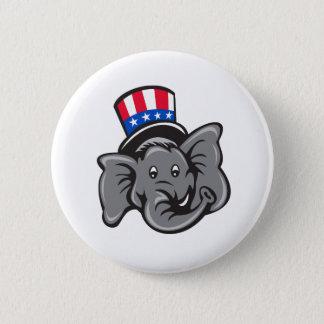 Republican Elephant Mascot Head Top Hat Cartoon 6 Cm Round Badge