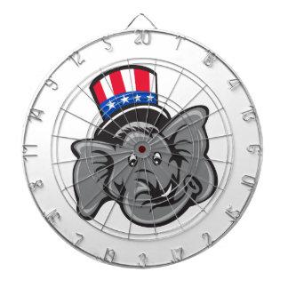 Republican Elephant Mascot Head Top Hat Cartoon Dartboard