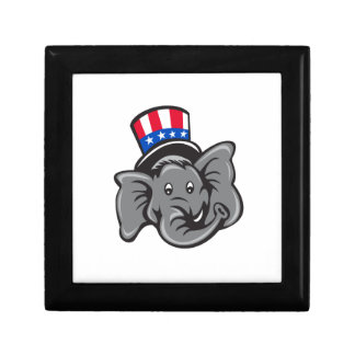 Republican Elephant Mascot Head Top Hat Cartoon Gift Box