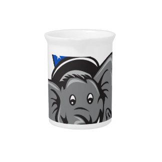 Republican Elephant Mascot Head Top Hat Cartoon Pitcher