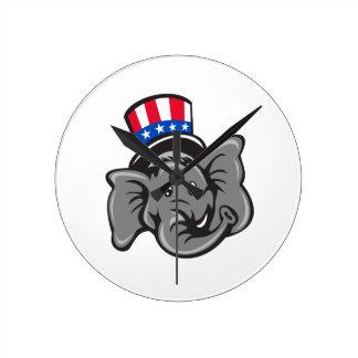 Republican Elephant Mascot Head Top Hat Cartoon Round Clock