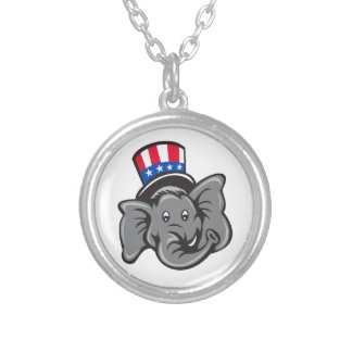 Republican Elephant Mascot Head Top Hat Cartoon Silver Plated Necklace