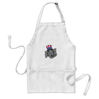 Republican Elephant Mascot Head Top Hat Cartoon Standard Apron