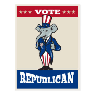 Republican Elephant Mascot Thumbs Up USA Flag Postcard