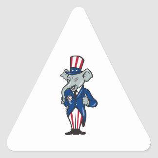 Republican Elephant Mascot Thumbs Up USA Flag Triangle Stickers