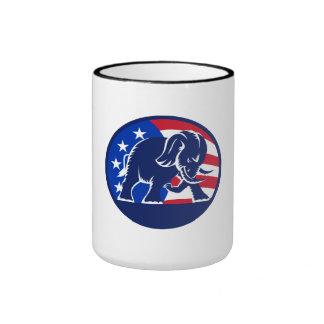 Republican Elephant Mascot USA Flag Coffee Mugs