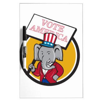 Republican Elephant Mascot Vote America Circle Car Dry Erase Boards