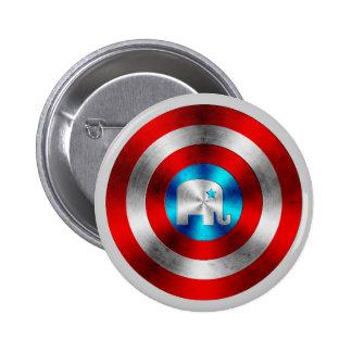 Republican Elephant Metal Shield Pinback Button
