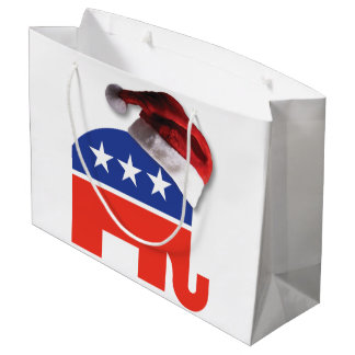 Republican Elephant with a Santa Claus Hat on Large Gift Bag