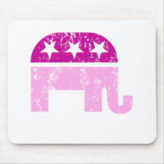 Republican Original Elephant Distressed Pink Mousepads