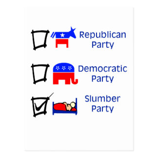 Republican Party, Democratic Party, Slumber Party Post Cards