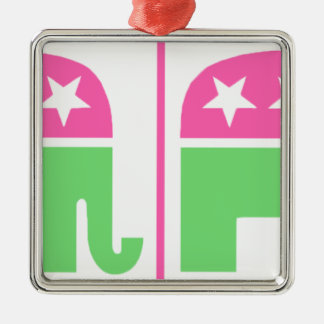 republican party elephant with border Silver-Colored square decoration