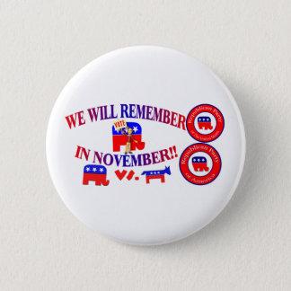 Republican Remember In November Anti ObamaCare 6 Cm Round Badge