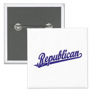 Republican Script Logo Simple Blue 15 Cm Square Badge