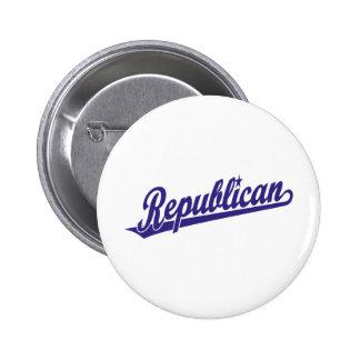 Republican Script Logo Simple Blue 6 Cm Round Badge