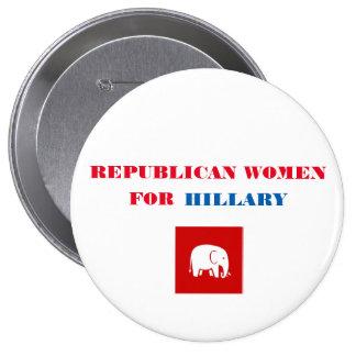 "Republican Women for Hillary Button 4"""