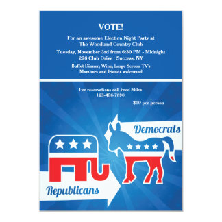 Republicans and Democrats Election Party Invitatio Card