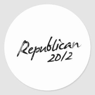 REPUBLICANS AUTOGRAPH 2012 Faded.png Round Stickers