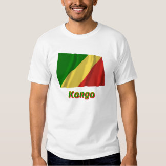 Republik Kongo Fliegende Flagge mit Namen T-shirt