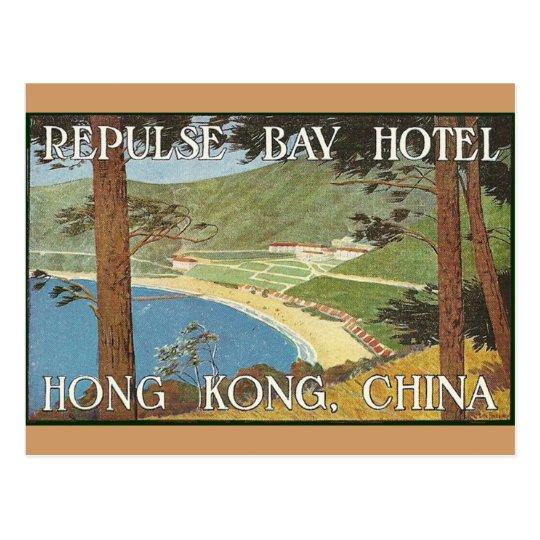 Repulse Bay Hotel Hong Kong, China Deco Label Art Postcard